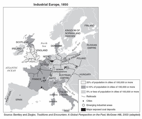 Urbanization Map During The Industrial Revolution Industrial Revolution ...
